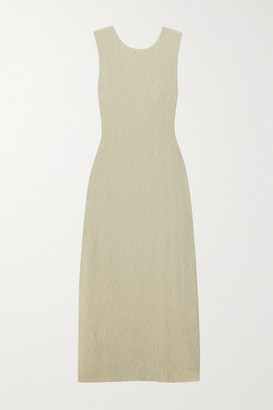 Reformation Net Sustain Jonah Knotted Cutout Plisse-jersey Dress - Gray green