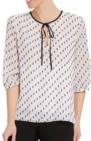 Ellen Tracy Printed Tie-Up-Accent Pullover Top