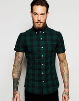 Asos Skinny Shirt With Green Mid Scale Check In Short Sleeves