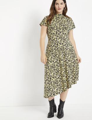 ELOQUII Cowl Neck Midi Dress