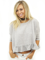 Minnie Rose Minnie Ruffles Crop Top in Light Heather Grey