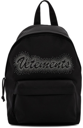 Vetements Black Studded Logo Backpack