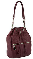 B. Makowsky B.Makowsky Quilted Leather Drawstring Hobo Bag with Chain Detail