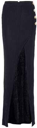 Balmain Ribbed-knit maxi skirt