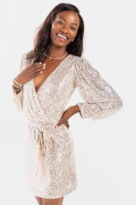 francesca's Peggy Sequin Front Tie Mini Dress - Gold