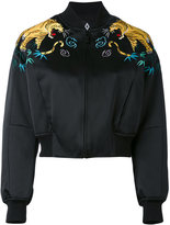 Marcelo Burlon County of Milan tiger embroidered bomber jacket - women - Polyamide/Polyester/Viscose - M