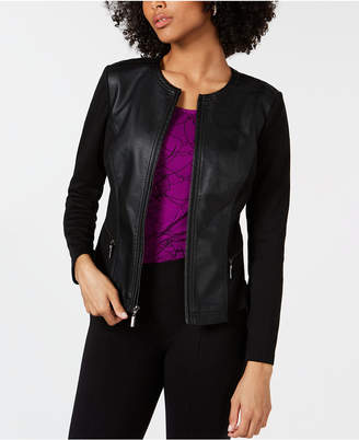 Alfani Petite Faux-Leather Mixed-Media Jacket