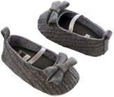 Carter's Baby Girl Prewalker Cable-Knit Gray Mary Jane Crib Shoes