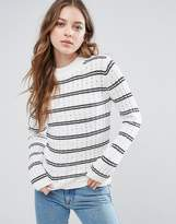 French Connection Po Cashmere Wool Mix Knit Stripe Jumper