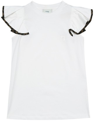 Fendi Kids Cotton frill sleeve T-shirt