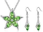 Fancy Jewelry Sets Gift Fancy Lastest Lady Austria Crystal Five Leaves Flower Jewelry Set Green Star Pendant Necklace Earrings