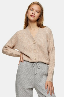 Topshop Womens Oat Pointelle Knitted Cardigan - Oatmeal