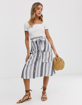 Influence midi skirt with pockets in natural stripe