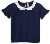 Janie and Jack Little Girl's & Girl's Crochet Collar Ruffle Top