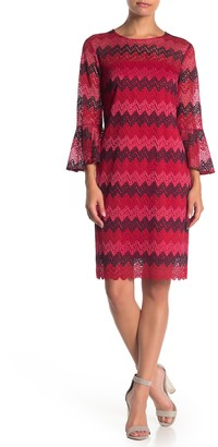 trina Trina Turk Lovey Knit Bell Sleeve Sheath Dress