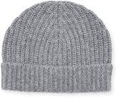 Neiman Marcus Ribbed Cuffed Beanie Hat, Gray