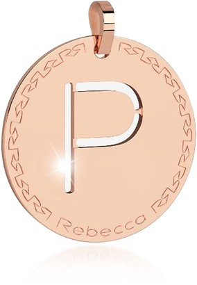 Rebecca Rose Gold-plated Bronze P Charm W/Rhodium-plated Necklace