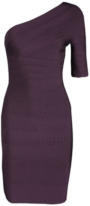Herve Leger Purple Prune One Shoulder Bandage Dress XXS