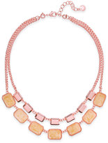 Charter Club Rose Gold-Tone Orange/Pink Stone 2 in 1 Necklace, Created for Macy's