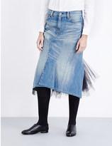Junya Watanabe Tulle-detail denim skirt