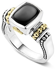 Lagos 18K Gold and Sterling Silver Caviar Color Small Onyx Small Ring