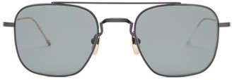 Thom Browne Mirrored Aviator-frame Sunglasses - Mens - Black