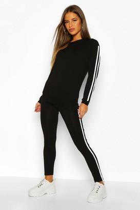 boohoo Petite Side Stripe Loungewear Set