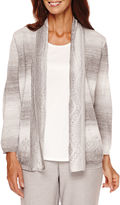 Alfred Dunner Veneto Valley 3/4-Sleeve Pointelle Layered Top - Petite