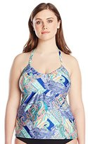Kenneth Cole Reaction Kenneth Cole Women's Plus-Size Paisley Intuition U-Neck Tankini