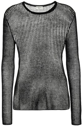 Saint Laurent Ribbed linen and silk top