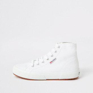 River Island Superga white high top lace-up trainers
