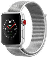 Apple Watch Series 3, GPS and Cellular, 42mm Silver Aluminium Case with Sport Loop, Seashell