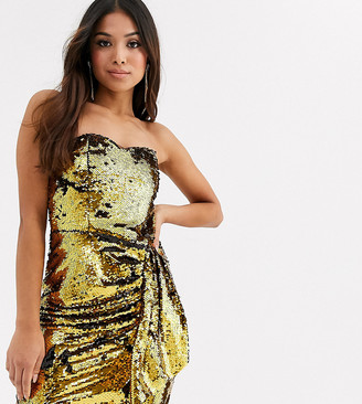 TFNC Petite sequin bandeau mini dress in black and gold