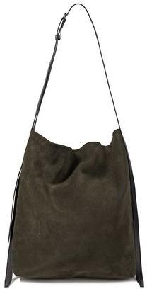 Ann Demeulemeester Leather-trimmed Suede Shoulder Bag