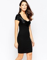 French Connection Midnight Short Sleeved Contrast PU Bodycon Dress