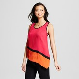 Notations Women's Color Blocked Knit Tank with Woven Pleated Overlay