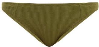 Ganni High-rise Ribbed Bikini Briefs - Khaki