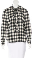 RED Valentino Tie-Accented Flannel Top w/ Tags