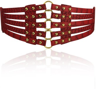 Kol Fashion Fashion Women's PU Leather Wide Waist Belt Hollow Out Rivets Stretch Cinch Waistband - Red - One Size