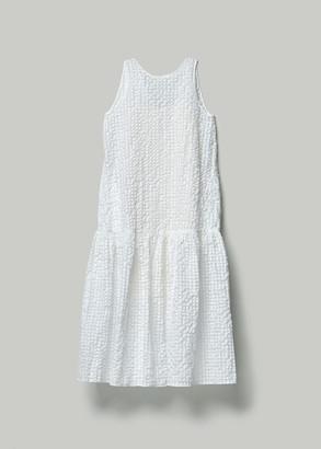 Xiao Li Women's Full Length Gathered Dress in White Size Large Cotton/Polyester/Polyamide