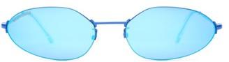 Balenciaga Oval Metal Sunglasses - Blue
