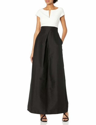 Halston Women's Cap Sleeve Wide Neck Color-Blocked Structured Gown