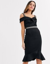 Lipsy scuba ruffle hem midi dress with embellished trim details in black