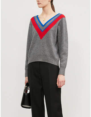 Sandro Stripe-trimmed V-neck knitted jumper