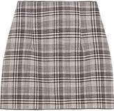 Off-White Checked Tweed Mini Skirt - Gray