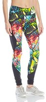 Pink Lotus Women's Raveforest Stems Printed Performance Legging with Color Block Side