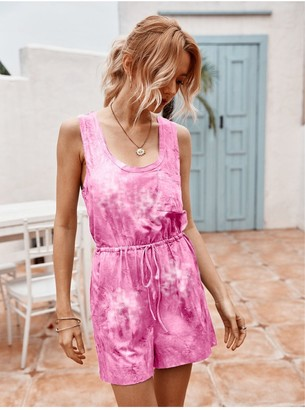 FS Collection Tie Dye Relaxed Summer Playsuit In Pink