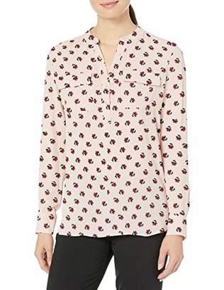 Lark & Ro Women's Band Collar Pocket Tunic Popover Dress,(EU M - L)