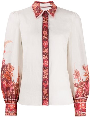 Zimmermann Floral Panelled Long-Sleeved Shirt