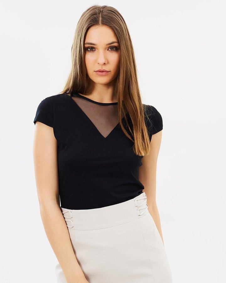 Karen Millen Cap Sleeve Mesh Top